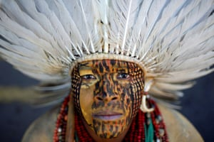 Brasilia, Brazil Uinatam Pataxo, of the Pataxo tribe, attends a protest for land demarcation and against President Jair Bolsonaro's government in front of the Planalto Palace