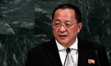 Ri Yong Ho at the United Nations general assembly.