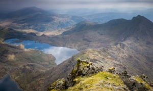 An aerial view at Snowdon on March 31, 2017 in Llanberis, Wales, United Kingdom.