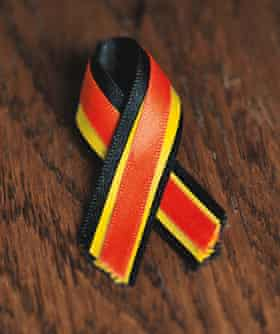 The haemophilia awareness ribbon: red for blood, yellow for hepatitis C and black for those who have died