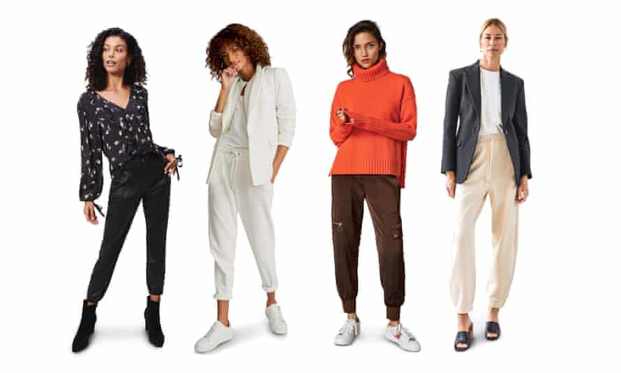 From left: Coated, £280, paige.com. Needlecord, £180, reiss.com. Satin, £175, meandem.com. Organic cotton, £55, stories.com