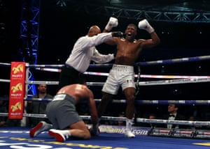 Joshua thinks it's all over, but Klitschko gets up and recovers in time to fight on.