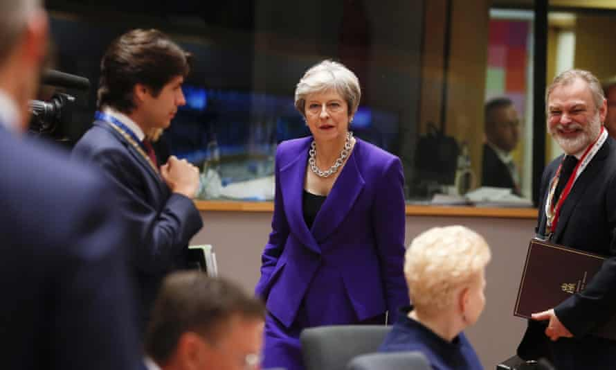 Theresa May at a meeting of EU leaders at the European council in Brussels