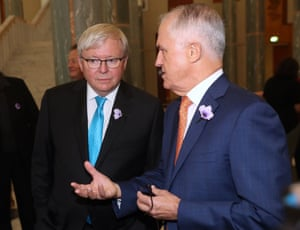 Malcolm Turnbull and Kevin Rudd outside the great hall of Parliament House this morning