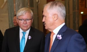 Kevin Rudd and Malcolm Turnbull in conversation