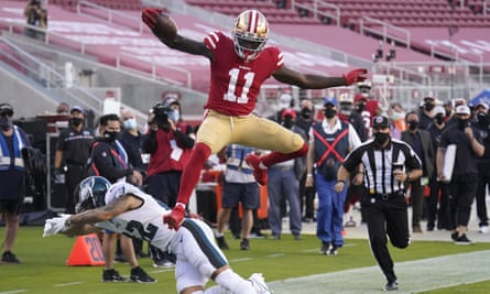 The campaign video showed San Francisco 49ers wide receiver Brandon Aiyuk jumping over Philadelphia Eagles safety Marcus Epps