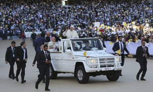 Pope Francis arriving at Zayed Sports City stadium in Abu Dhabi