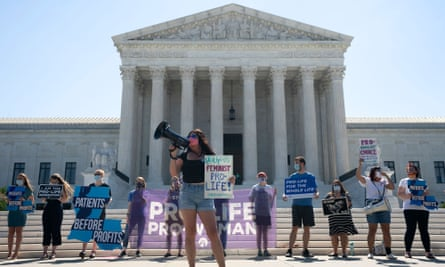 Anti-abortion campaigners outside the US supreme court, Washington DC.