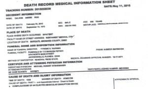 calvon reid death certificate