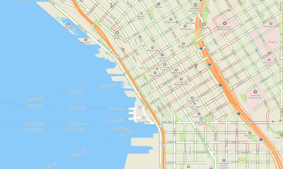 AccessMap Seattle with inclines mapped by colour. green = 0 percent incline 10 = 10 percent incline. Sidewalk Maps for Low Mobility Citizens