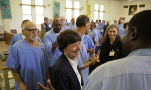 Ken Burns meets inmates at San Quentin after showing parts of his new documentary Country Music, which features Johnny Cash's performances at the prison.