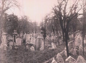 The ancient Prague Jewish cemetery as it was before it was turned into a tower. Also shows the site when the tower's foundations were being dug.. Sent by Robert Tait.
