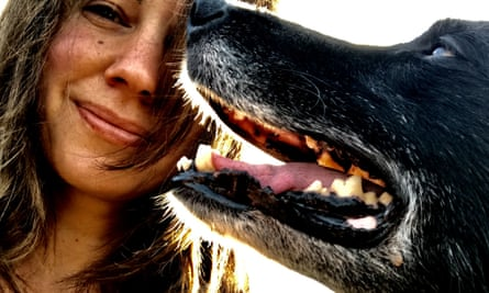 A close-up of Tamsin Calidas and her dog