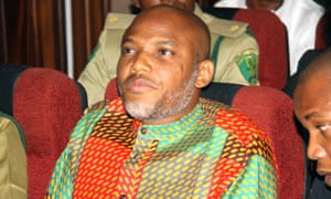 Nnamdi Kanu attends a court hearing  in Abuja, Nigeria, last week