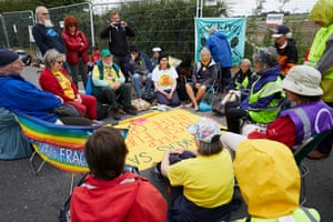 Quakers in a silent prayer circle at Reclaim the Power's anti-fracking demonstration.