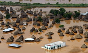 Submerged huts after flooding in Nigeria village