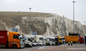 Lorries line up at the Dover ferry terminal.