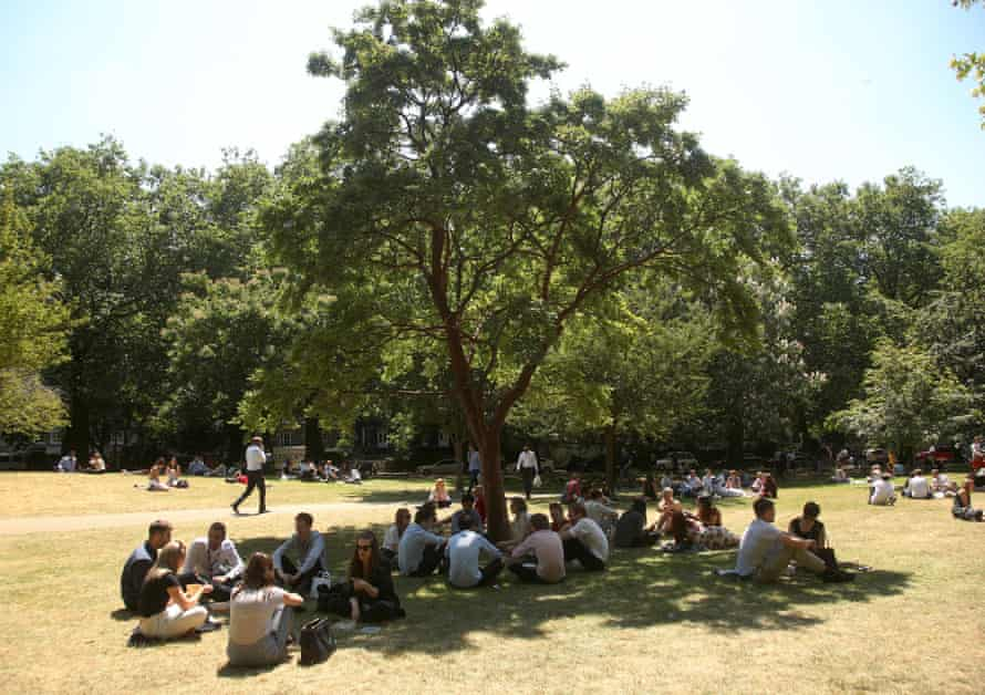 St James's Park in central London during the heatwave of 2018