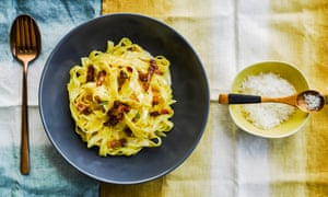 Bacon and egg fettuccine, roast garlic and Berkswell cheese.