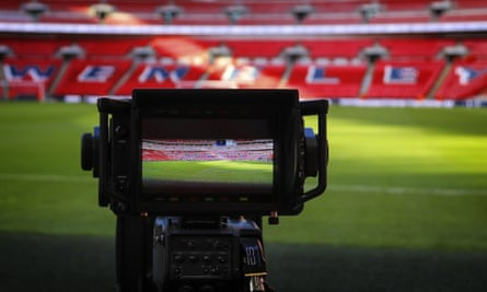 A TV camera at Wembley before a recent Tottenham game in the Premier League.