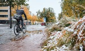 A  man on a bike in Joensuu