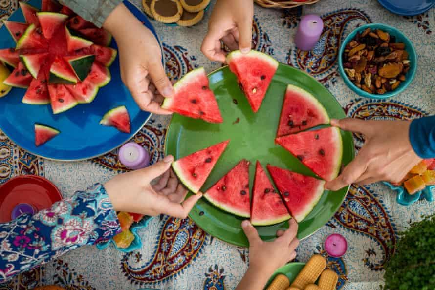 watermelon segments for an Iranian Shab-e Yalda feast.