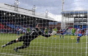 Crystal Palace's Luka Milivojevic sends Baggies keeper Sam Johnstone the wrong way to open the scoring..