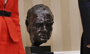 The bust of Winston Churchill, pictured in January 2017, when Theresa May met Joe Biden's predecessor, Donald Trump, at the White House.
