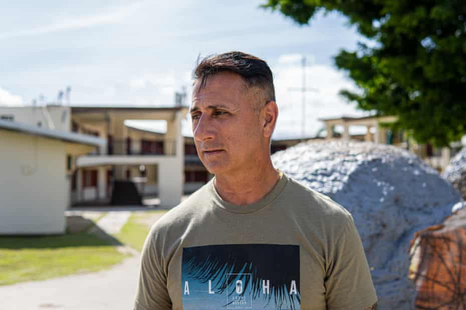 Walter Denton outside the former rectory of Anthony Apuron, the former archbishop of Guam, whom Denton alleges abused him as a child.