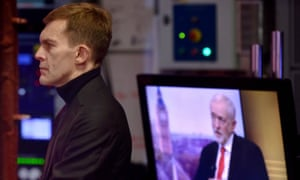 Seumas Milne, Labour's executive director of strategy and communications, watches Jeremy Corbyn appear on the BBC's Andrew Marr Show last month.