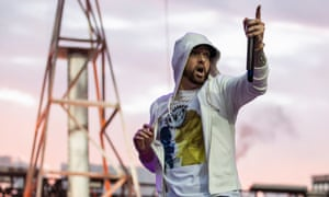 Apologetic body language … Eminem at Twickenham stadium.