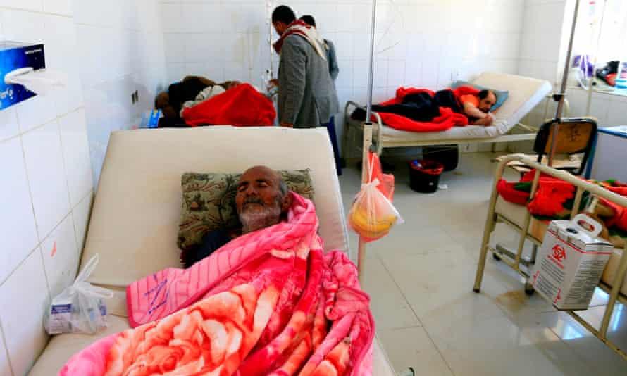 Yemenis at a cholera treatment centre in Sana'a