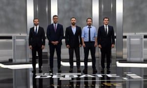 The five main party leaders, from left Pablo Casado of the PP, acting prime minister Pedro Sanchez of the Socialist party, Vox leader Santiago Abascal, Podemos leader Pablo Iglesias and Citizens leader Albert Rivera.