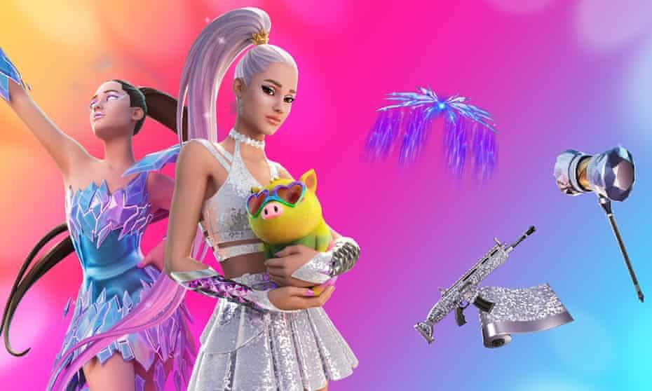 Art imitates virtual life … Ariana Grande avatars appearing in Fortnite.