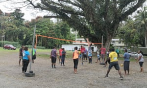 People play volleyball amid the pandemic in Fiji.
