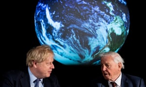 Boris Johnson (left) and British broadcaster and naturalist Sir David Attenborough at the COP 26 launch at the Science Museum in London.