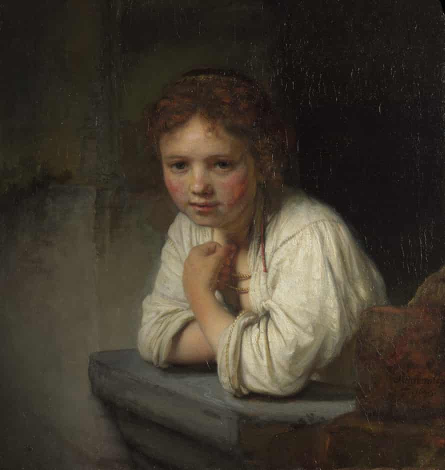 Detail from Girl at a Window by Rembrandt.