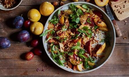 Plum, lime and peanut salad