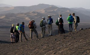 The trekking group assembles to the western edge of the Mega-Dunes.