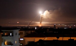 Missile fire is seen from Damascus, after Israel responded to a rocket attack on the Golan Heights with strikes inside Syria.