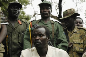 Joseph Kony speaks to journalists in southern Sudan in 2006.