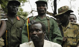 Joseph Kony with fellow Lord's Resistance Army members