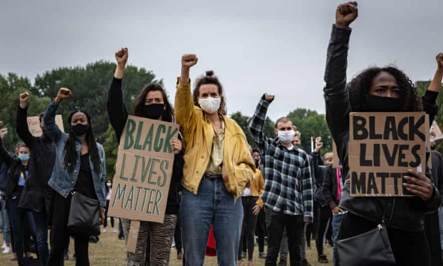 A protest against police brutality and racism in Nelson Mandela Park in Amsterdam
