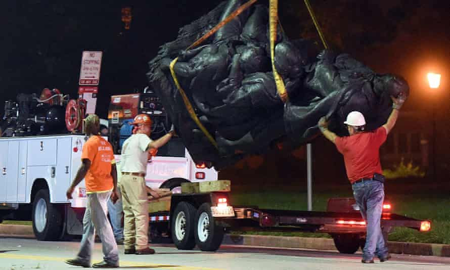 A monument dedicated to the Confederate women of Maryland is removed in Baltimore.