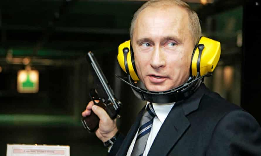 Putin at a shooting gallery in Moscow.