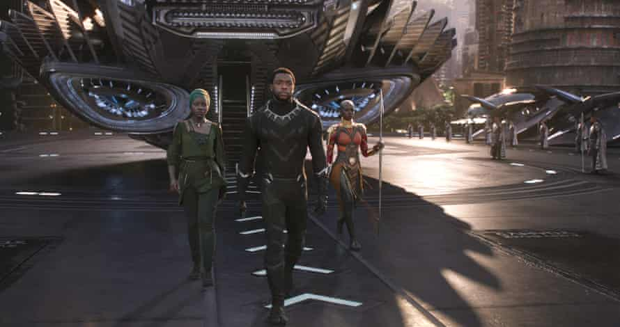 Nakia, T'Challa and Okoye in Black Panther.