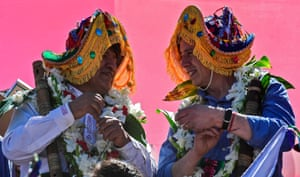 Morales (left) and Linera pose wearing traditional hats. Morales initially sought shelter in Mexico but has spent most of the last year in Argentina, where Alberto Fernández's leftwing administration offered him asylum