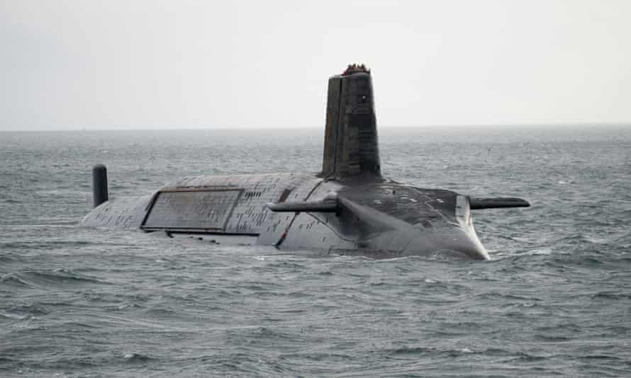 The Trident-carrying nuclear submarine HMS Vengeance departs for Devonport prior to a re-fit in February 2012 off the coast of Largs, Scotland.