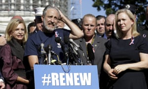 Comedian Stewart appears with Senator Gillibrand at a rally in September calling for renewal of the Zadroga Act.