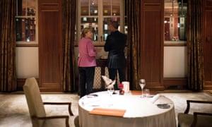 Berlin, Germany: German Chancellor Angela Merkel and US President Barack Obama at the Hotel Adlon